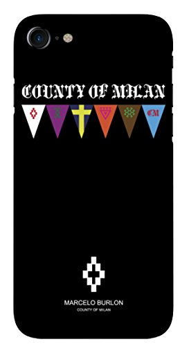 MARCELO BURLON COUNTY OF MILAN Cover/Custodia Compatibile con iPhone 8/7/6s/6 - MOD. Flags - Custodia Burlon Originale- Rigida - Finitura Soft Touch - Protezione Frontale rialzata