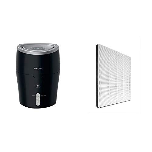Philips HU4813/10 Luftbefeuchter (bis zu 44m², hygienische NanoCloud-Technologie, leiser Nachtmodus, Automodus) schwarz & FY1114/10 NanoProtect HEPA-Filter (für Philips Luftwäscher HU5930/10)