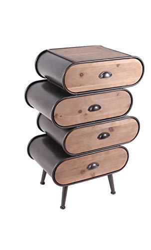 Socadis – Cómoda calada de madera y metal 4 cajones Master