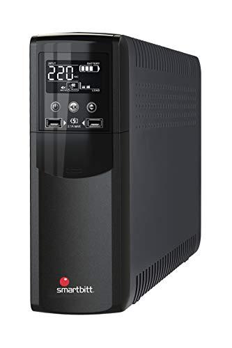 SmartBitt Prime UPS LCD Battery Backup Surge Protector w/Hot Swap Battery, 10 Outlets HID USB Comm, USB Charger, RJ-45 Network Jack (550VA)