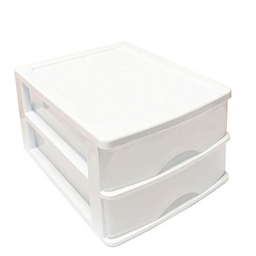 Plastic Forte Cajonera de sobremesa Blanco 2 cajones Transparentes 18.5 x 26 x 35