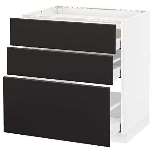 Maximera / METOD bashytt f häll/3 fronter/3 lådor 80 x 61,6 x 88 cm vit/Kungsbacka antracit