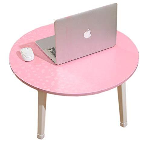 Tables de pique-nique Bureau Ordinateur Portable Table Lit Bureau Table Pliante Étudiant Dortoir Petite Table Porte Fenêtre Float Tatami Table Ronde (Color : Pink, Size : 60 * 30cm)