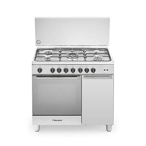 Cucina a gas con forno elettrico ventilato, N° 5 Fuochi, 90x60 cm, colore Inox