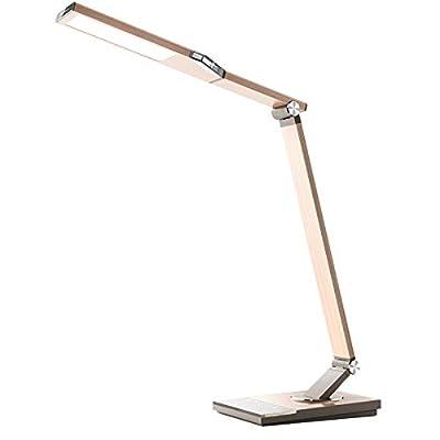 TaoTronics TT-DL16 Stylish Metal LED Desk Lamp, Office 5V/2A USB Port, 5 Color Modes, 6 Brightness Levels, Touch Control, Timer, Night Light, Philips Enabled Licensing Program?Silver?