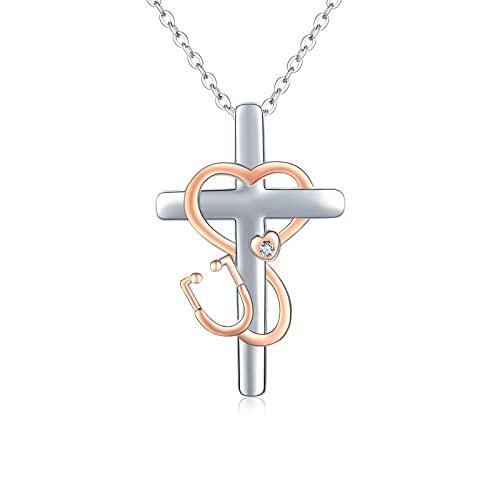 Collar con colgante de cruz de plata de ley 925 con colgante de corazón con símbolo de infinito, joya de oro rosa, regalo para médicos, enfermeras, mujeres y niñas