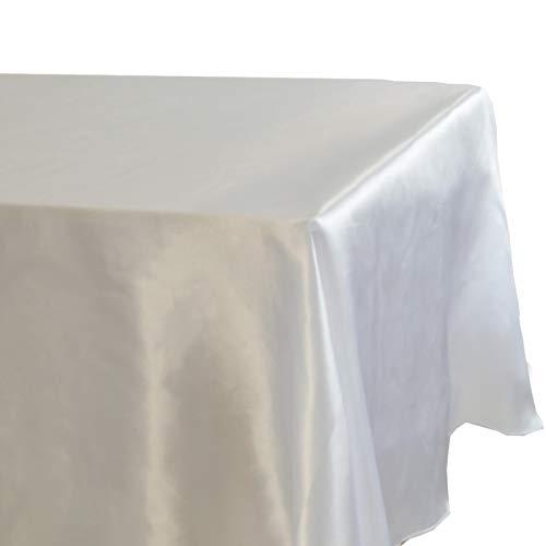 Miwaimao Manteles de boda de satén blanco de Navidad Restaurante/Hotel sin empalmes Mantel, Blanco, 145x145cm