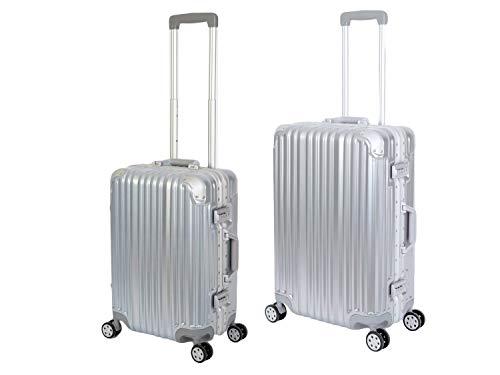 Travelhouse London Koffer Silber S-55cm, M-65cm · 2er-Set · Alu-Rahmen · Polykarbonat Hartschale · Handgepäckkoffer +Reisegepäck Reisetrolley Trolley...