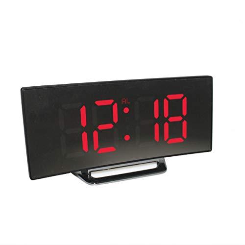 Frieed USB Recargable Espejo Llevado Despertador Noche Lite termómetro Reloj Digital Durable (Color : Red)
