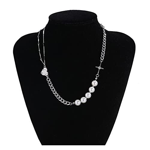 YHshop Collares y Pendientes Collar de Cristal Hueco de Gargantilla de Perla simulada para Mujeres Collares de Borla Larga joyería de Moda Collares Pendientes (Metal Color : C)