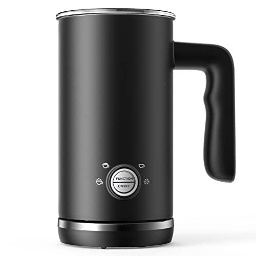 Elemore Home Milchaufschäumer, 4 in 1 Automatischer Milchschäumer und Dampfgarer, 300ml Kalt-Heiß-Milchaufschäumer & Wärmer für Latte Cappuccino, Mode Schwarz