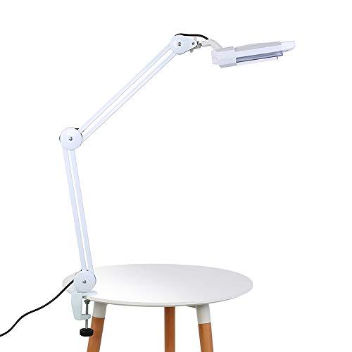 FTVOGUE- 2 en 1 Lámpara de Lupa LED de Escritorio con Luz Iluminación, Lámpara de Belleza Plegable Aumento 5X para Tatuajes, SPA, Belleza