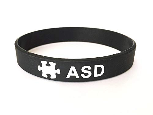 ASD Autism wristband medical alert ID bracelet black white mens ladies silicone band autistic aspergers by Butler & Grace.