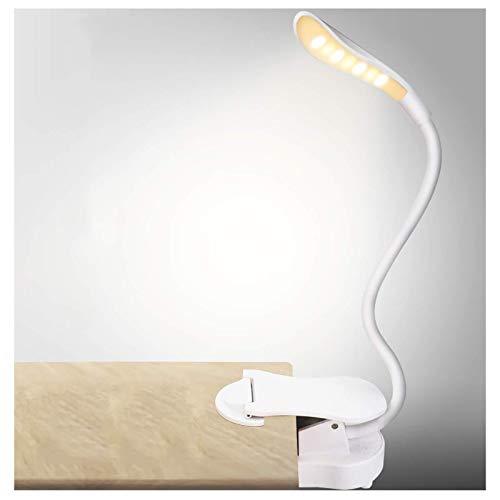Lámpara De Escritorio LED, Lámpara De Mesa Protección Ocular, Lámpara De Mini Libro De Lectura, 3 Modos De Iluminación, Atenuación Continua, Para Leer, Trabajar, Estudiar,Blanco