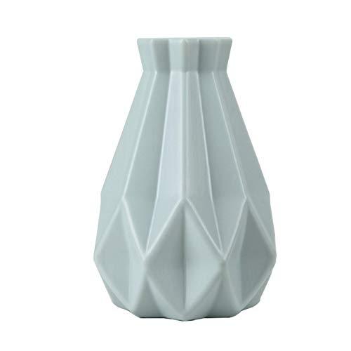 Buyfunny01 Florero de pie Pot a prueba de roturas moderno centro de mesa de imitación de cerámica mesa de boda, oficina, sala de estar, decoración del hogar, estilo nórdico (verde)