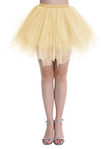 Dressystar Falda de tutú de tul para mujer de la década de los años 50 (15 colores), Primavera-Verano, Asimétricos, Mujer, color champán, tamaño 40