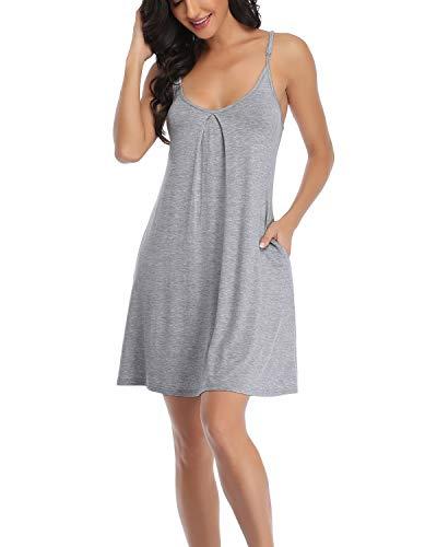 EVELIFE Camicia da Notte Donna Spalline Biancheria da Notte Abito Tinta Unita Camicia da Notte Senza Maniche Cotone Babydoll con Tasche(Grey L)