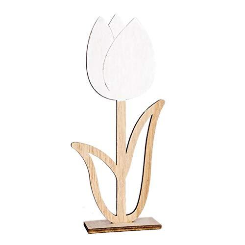RCFRGV Kleine ornamenten natuurlijk holle hout kleine paasbloem massieve tulp bloemen ornament tafel geschenk voor huwelijksfeest Home Decoration C