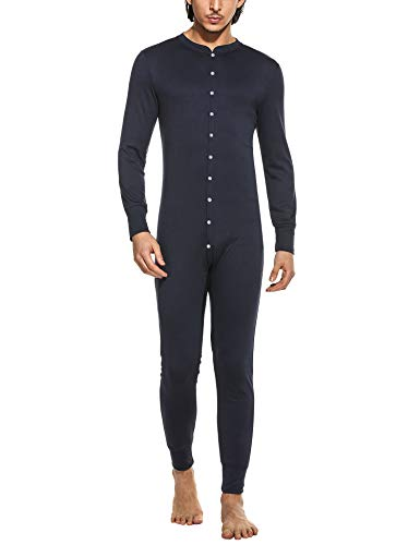 Hotouch Causal Long Johns for Men, Soft Cotton 1PC Fleece Thermal Union Suit Navy Blue XXL