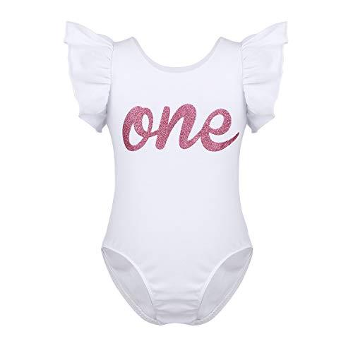 TiaoBug Baby Boys Girls Short Sleeves Letter ONE First 1st Birthday Romper Bodysuit One Year Old Birthday Shirt White 12 Months