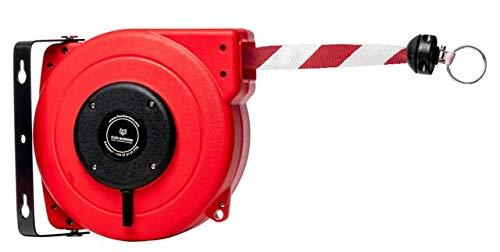 Flexibarrier Rollo de barrera de seguridad (18 m), correa de alto rendimiento (rojo/blanco), cinta de seguridad retráctil, soporte de pared con correa