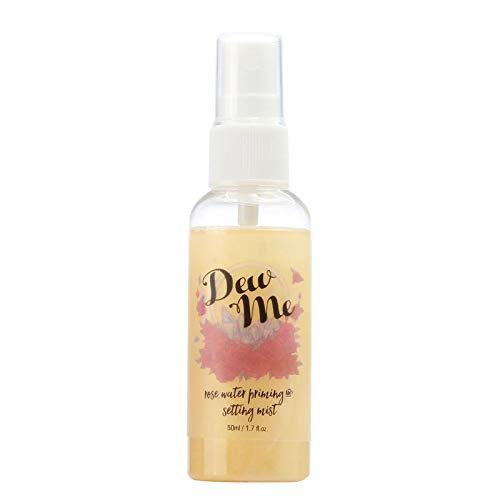 PHOERA Dew Me Rose Water Maquillaje Setting and Priming Mist Spray, Tintor facial minimizador de poros, efecto iluminador hidratante e hidratante, sin crueldad