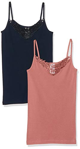 Only Onlkira Lace Singlet 2 Pack Noos Camiseta sin Mangas, Azul (Night Sky Pack: Night Sky/Withered Rose), Large 2 para Mujer