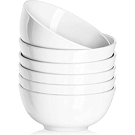 Delling Ultra-Strong 22 Ounces Soup Bowls - White Porcelain Cereal Bowls with Study Sides, Wide Base - White Large Bowls for Kitchen, Snack, Rice Pasta Salad Oatmeal, Set of 6, Microwave Safe
