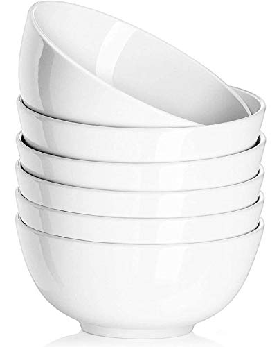 Delling 30 OZ Ceramic Soup Bowls Set of 6 - Cereal Bowls for Pasta, Salad, Large White Serving Bowls, Lightweight, Nut Bowls, White Bowls, for Rice Oatmeal