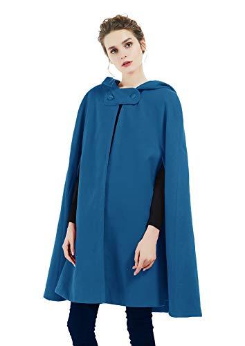 Donna Mantello con Cappuccio Misto Lana Robe Mantella Poncho Medievale Cosplay Cappotto con Bottoni per Halloween Costume Natale Nozze 90cm 127cm