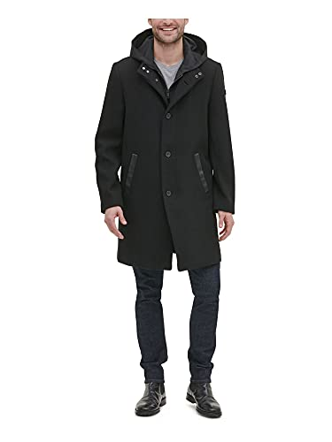 Kenneth Cole New York Men's Wool Jacket with Removable Hood, Deep Black, X-Large
