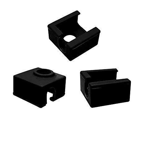 Eewolf - Copertura in silicone del blocco riscaldante per stampante 3D Hotend MK7 MK8 MK9, per Ender 3 Creality CR-10 10S S4 S5 ANET A8, colore nero