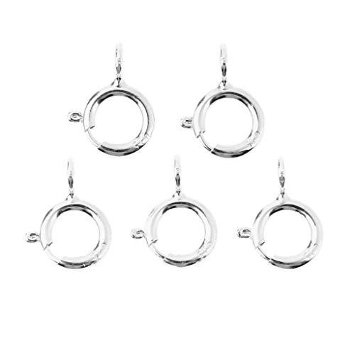 Hellery 5er Pack 925 Sterling Silber Federring Verschluss Haken 5mm Runde Erkenntnisse Perlen Schmuck Bastelbedarf - Silber