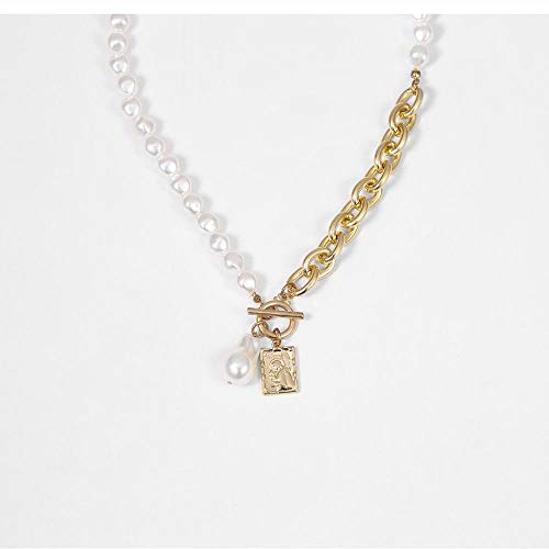 Punk Baroque Pearl Beads Layered Chains Necklaces for Women Girl Angel Tag Pendants Necklace Lasso Long Wedding Gothic Jewelry