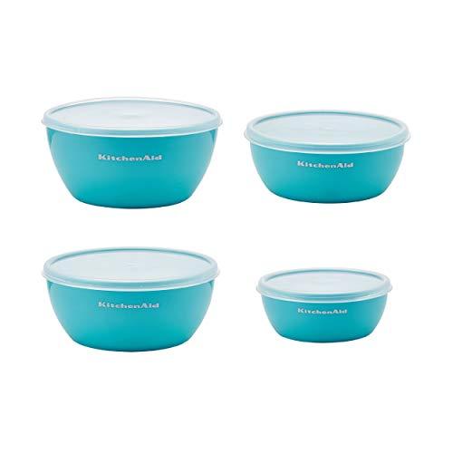 KitchenAid Classic Prep Bowls with Lids, Set of 4, Aqua Sky