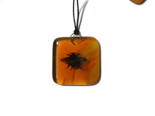 Amber, bumble bee sun catcher hanging decoration. 1 square design, garden lover gift, New Home