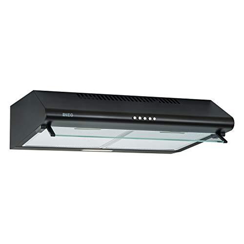 NEG Dunstabzugshaube NEG15-ATRB (schwarz) Edelstahl-Unterbau-Haube (Abluft/Umluft) und LED-Beleuchtung (60cm) Unterschrank- oder Wandanschluss