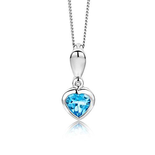 Miore Halskette für Damen aus 9 kt 375 Weißgold 45 cm Kette mit Herz Anhänger aus Blauer Topas 0.50 ct mit Diamant Brillianten