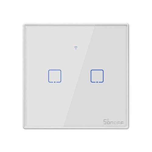 Yangeryang El Panel de Cristal Templado conmutador Smart Wall Inicio Luz Touch Switch, Compatible con Alexa y Google Inicio, CA 100V-240V, Enchufe de la UE
