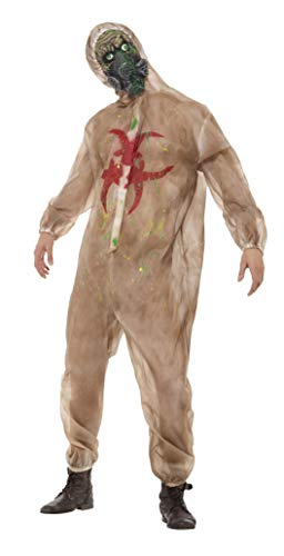 Smiffy's - Heren Zombie biologisch gevaar kostuum, volledig lichaam pak en masker, bruin