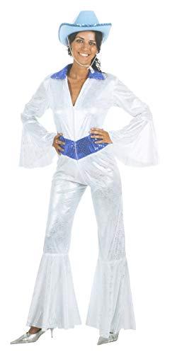 Brandsseller Disfraz de carnaval para mujer, discoteca, reye, fiesta, despedida de soltera, color plateado, blanco y azul, talla 42/44