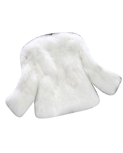 PengGeng Damen Elegant 3/4 Ärmel Jacke Mädchen Fluffy Outerwear Einfarbig Kurz Mantel Weiß XL