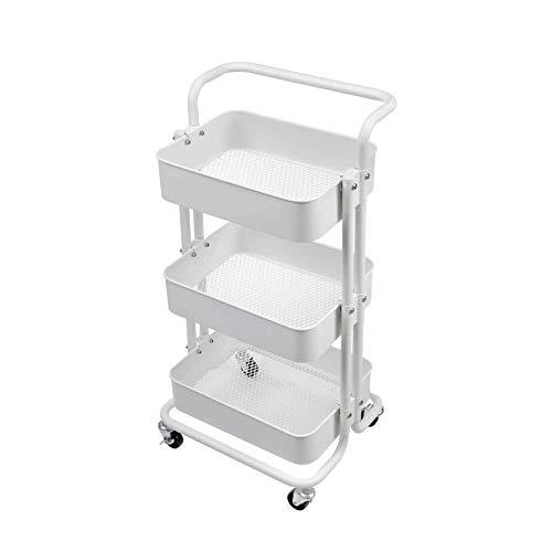 XCCX Rolling Utility Cart Storage Estanterías Multifunción Almacenamiento Trolley Service Car Carro con Malla De Malla Mangos Y Ruedas Ensamblaje Fácil para Baño, Cocina, Oficina
