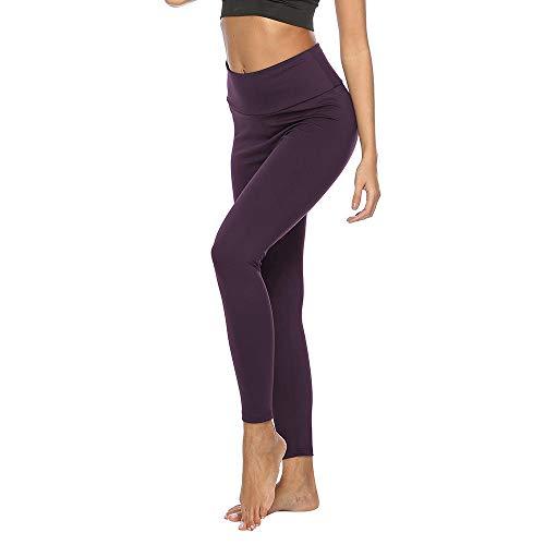 Promworld Leggings de Yoga Fruncidos,Caderas Pantalones de Yoga de Cintura Alta, Polainas Deportivas y de Ocio-Gris Claro_XL,Talle Alto Sin Costura Leggins para