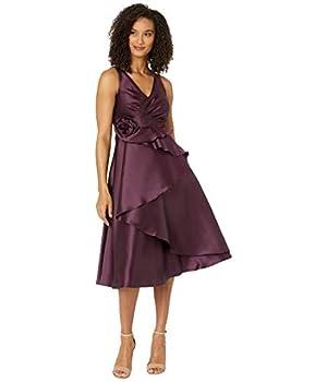 Adrianna Papell Mikado Rosette Cocktail Dress Pinot Noir 10