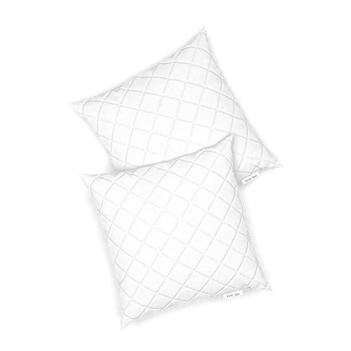 VitaliSpa 2er Set Microfaser Kopfkissen Allergiker geeignet Kissen weiß 3 Größen (40 x 40 cm)