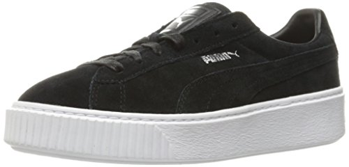 Sneaker da donna con plateau in pelle scamosciata, Puma Black / Puma White, 9.5 M US