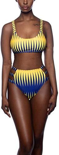 Split hoge taille zwembroek, terug kruis geel gestreepte bikini set, M
