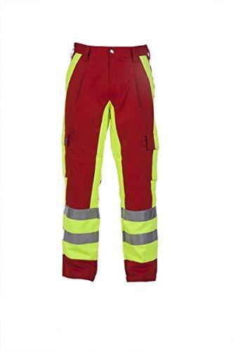 WeVoTex Einsatzhose, Rot und Leuchtgelb, mit eingearbeiteter Kniepolsterung