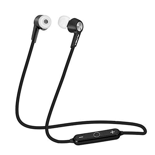 AKASHI® TECHNOLOGY - Auriculares Bluetooth Deportivos 4.1 CVC Pinganillos Bluetooth para Movil Auriculares con Microfono para Running Compatible con iPhone, Samsung, Xiaomi, Huawei - Negro